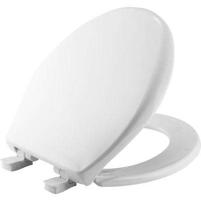 Slow Close Round Closed Front Toilet Seat in White