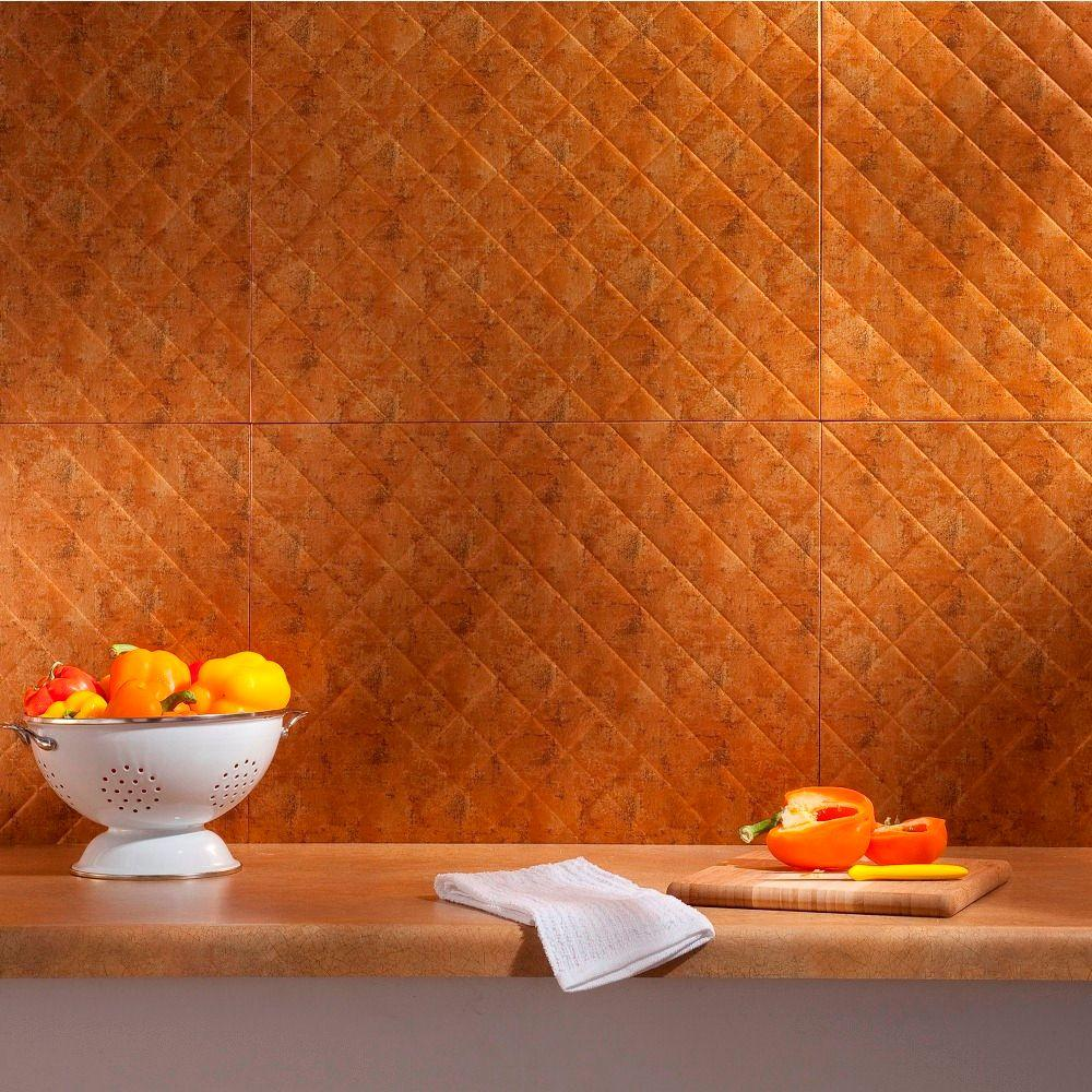 Fasade 24 in. x 18 in. Quilted PVC Decorative Backsplash Panel in Muted Gold