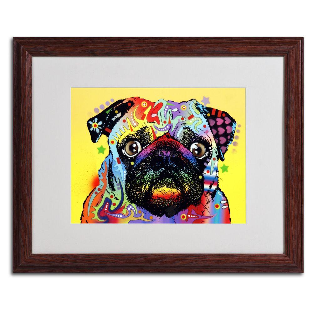 null 16 in. x 20 in. Pug Matted Brown Framed Wall Art
