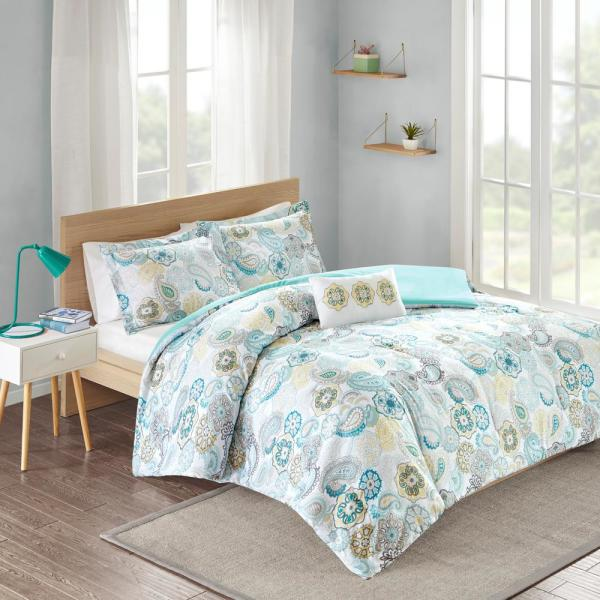Mi Zone Asha 4-Piece Blue Full/Queen Print Comforter Set MZ10-131