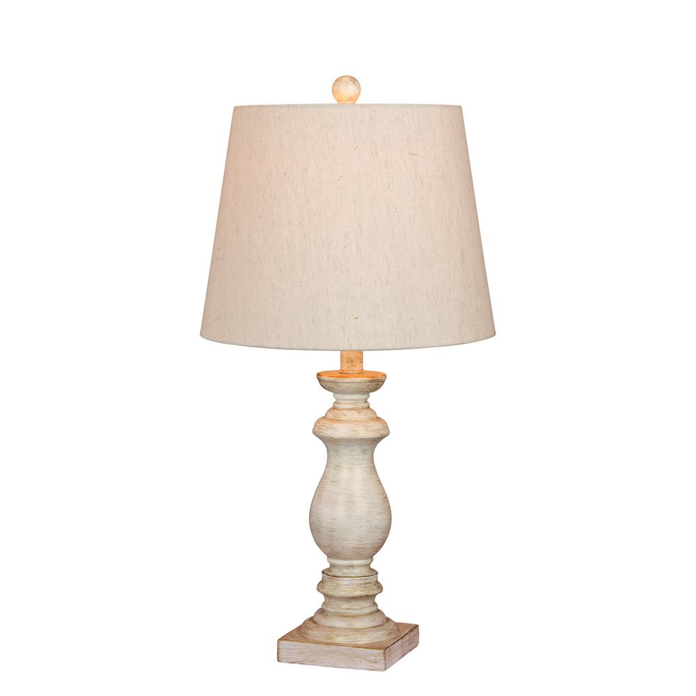 Incroyable Fangio Lighting 26 In. Antique Balustrade Column Resin Table Lamp In A  Antique White