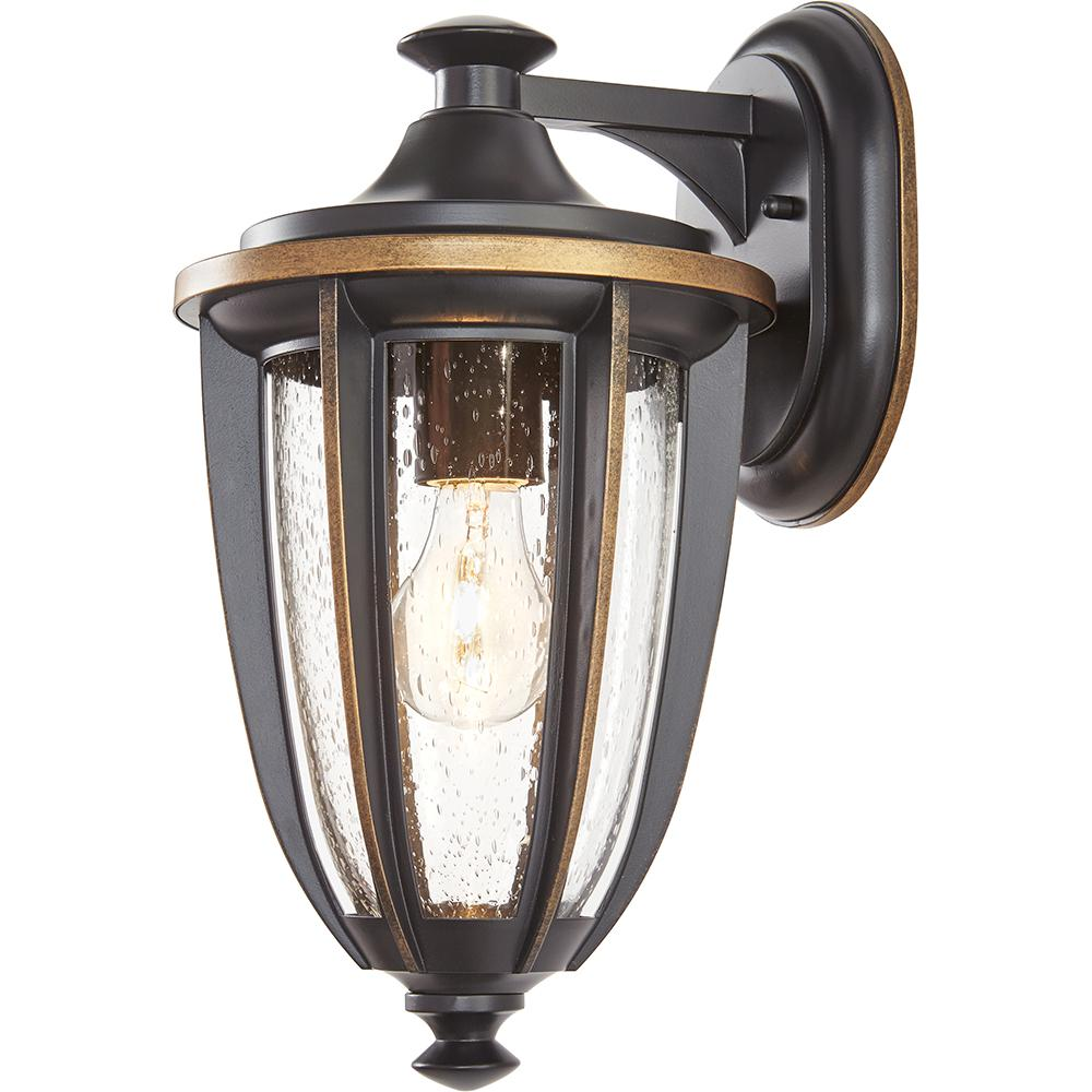 1-Light Black with Gold Highlights Outdoor 8 in. Wall Mount Lantern