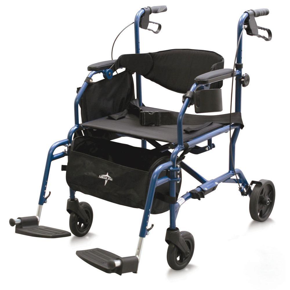 medline Combination Rollator/Transport Wheelchair in Blue