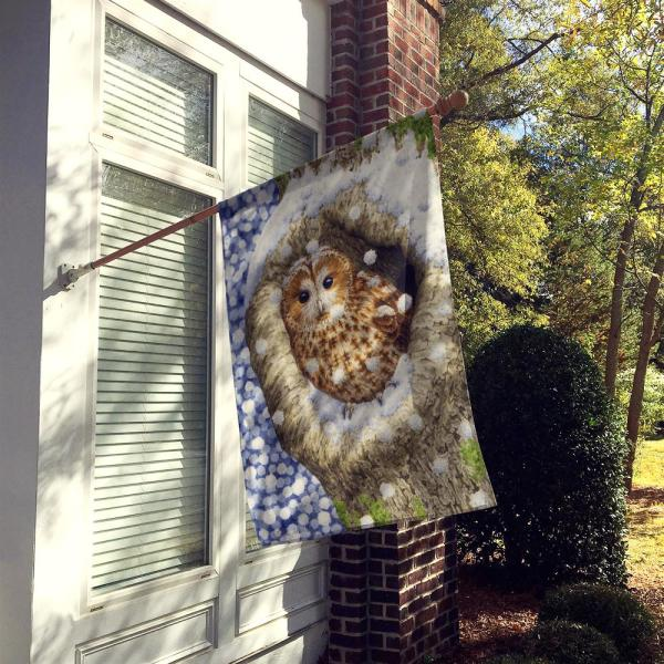 Caroline S Treasures 28 In X 40 In Polyester Tawny Owl In The Tree Flag Canvas House Size 2 Sided Heavyweight Asa2060chf The Home Depot