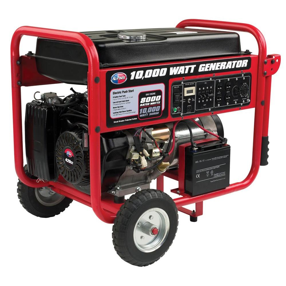 All Power 8,000-Watt Gasoline Powered Electric Start Portable ...