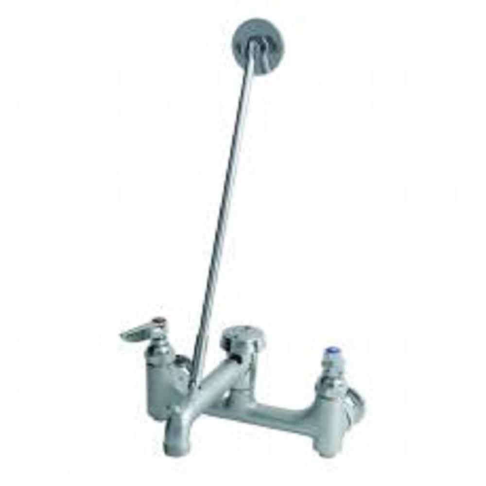 T&S BRASS 2 Handle Utility Faucet with Shut Off in Rough Chrome-B ...