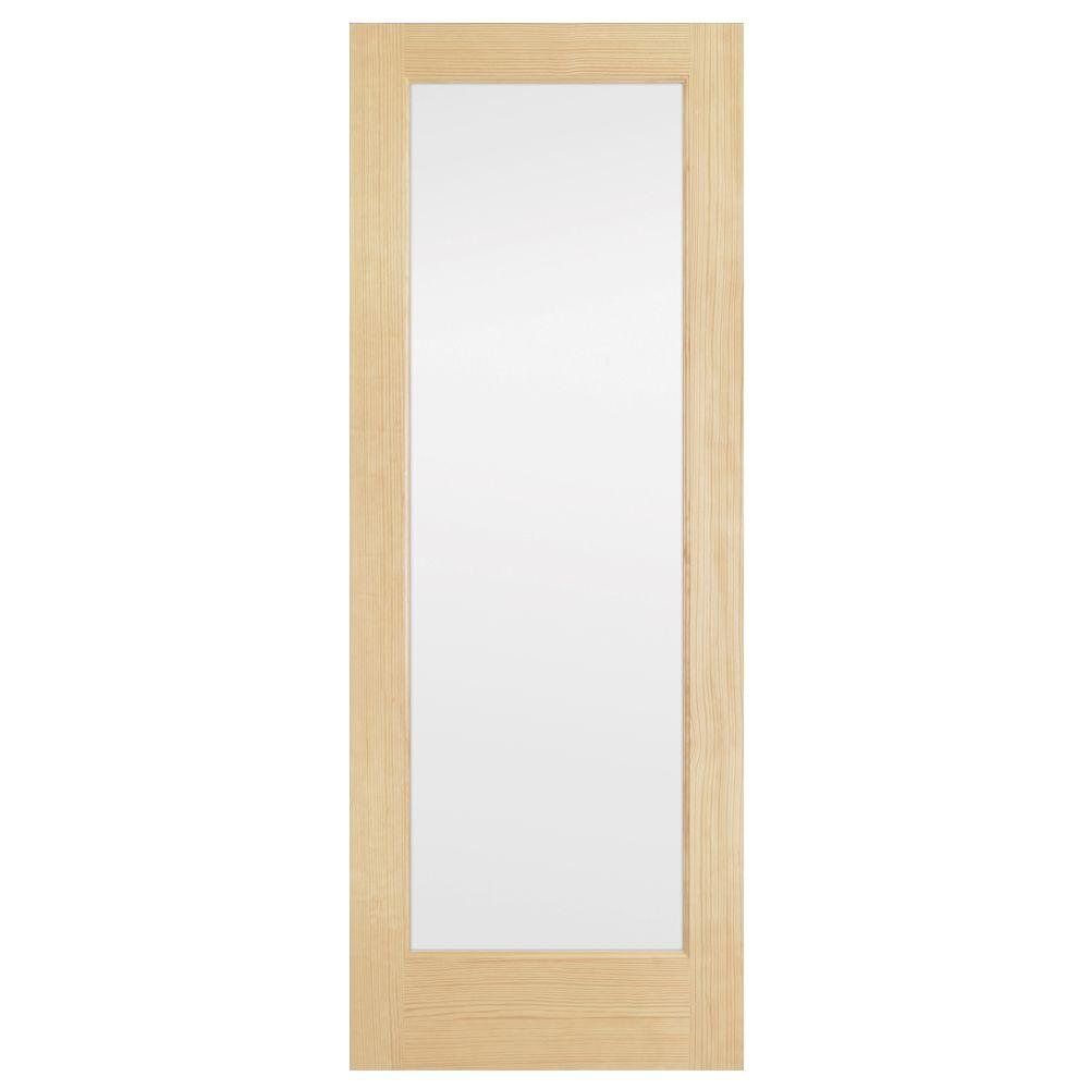 Steves & Sons 36 in. x 80 in. Full Lite Solid Core Pine Obscure Glass Interior Door Slab