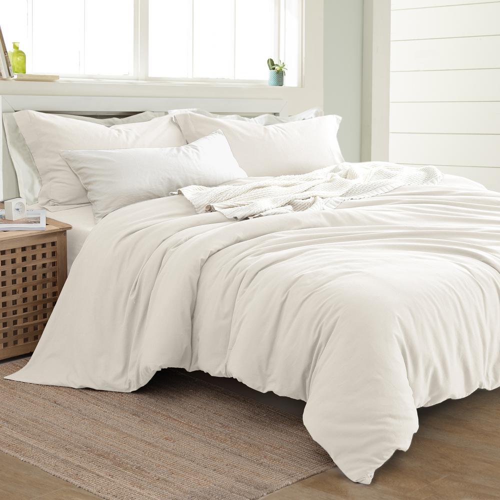 3-Piece Linen/Cotton White Queen Duvet Set