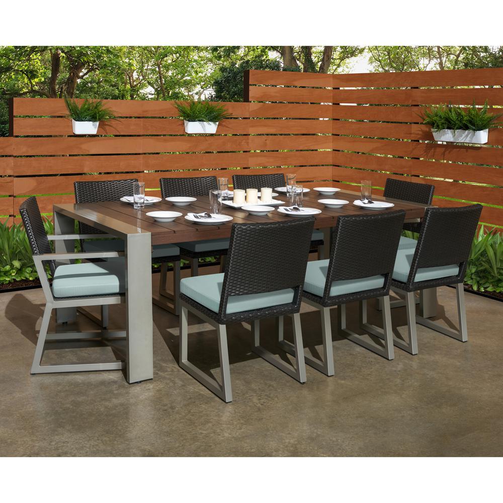 Milo Espresso 9-Piece Wicker Outdoor Dining Set with Sunbrella Spa Blue Cushions