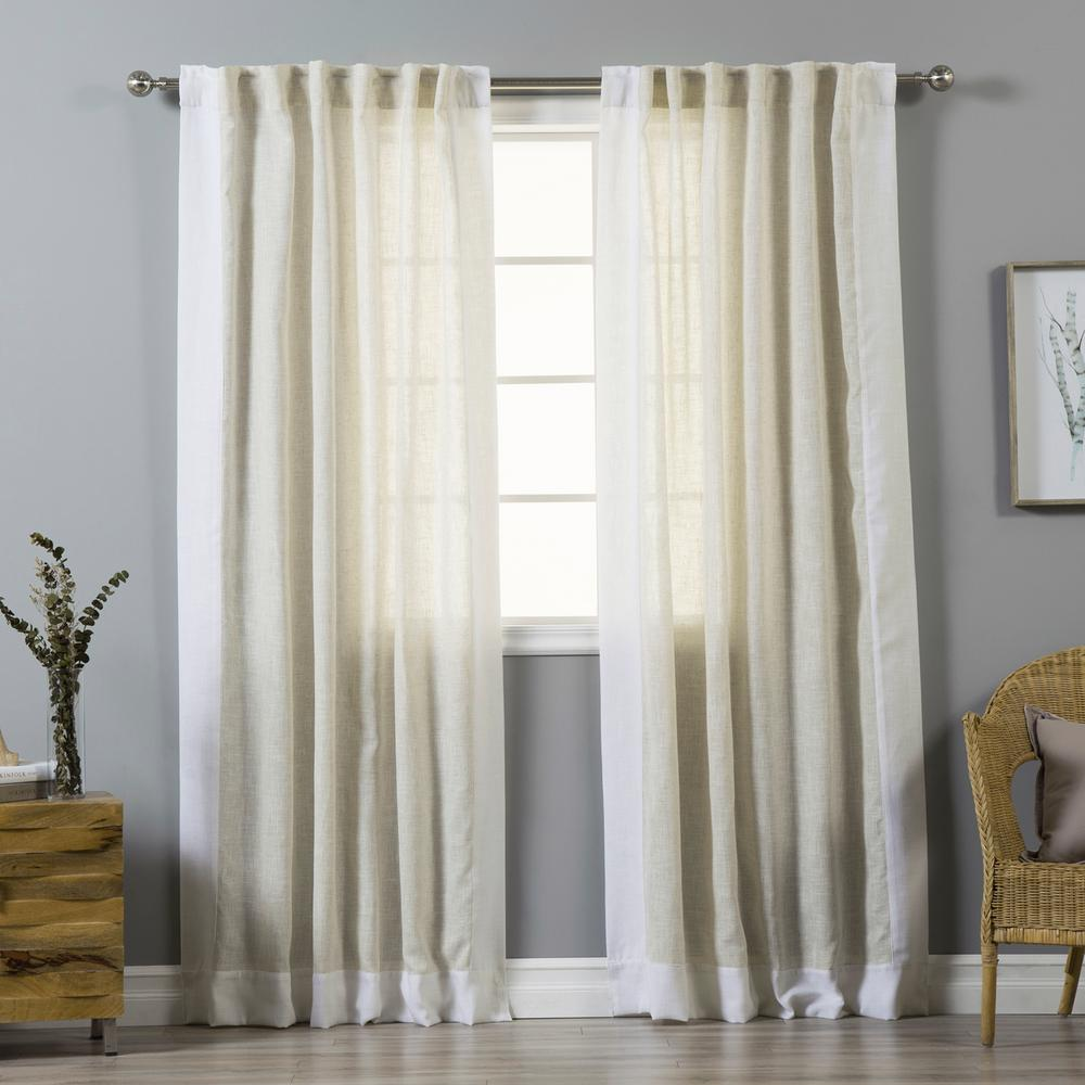 84 in. L Flax Linen Blend Optic White Bordered Curtains (2-Pack)