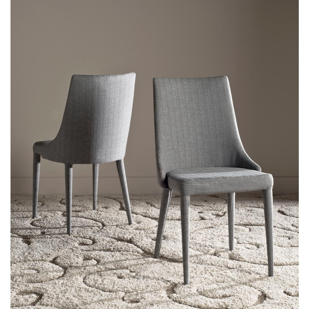 safavieh summerset gray 19 in h linen side chair set of 2 fox2014g set2 the home depot. Black Bedroom Furniture Sets. Home Design Ideas