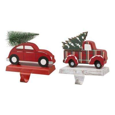Wooden/Metal Red Car and Truck Stocking Holder (Set of 2 )