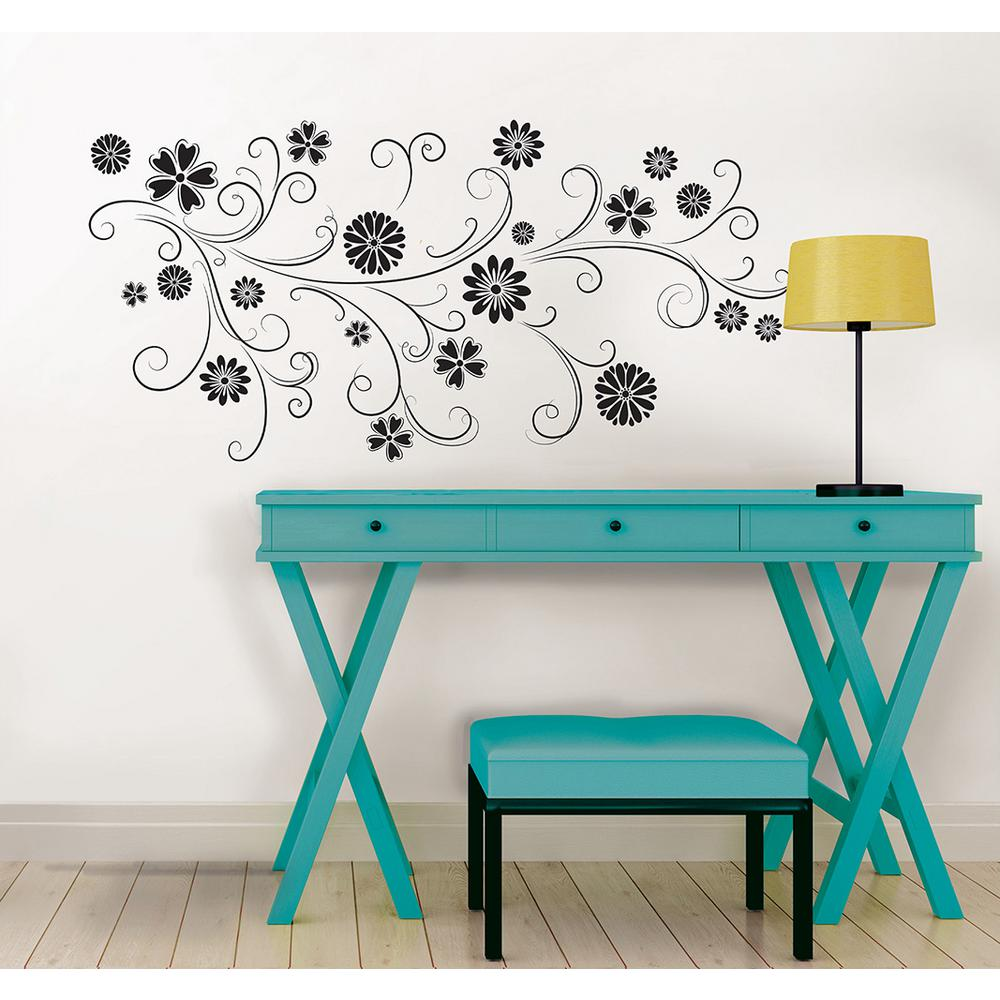 34.5 in. x 39 in. Floral Silhouette Wall Decal