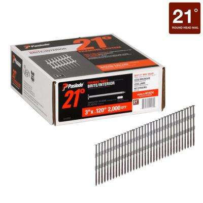 3 in. x 0.120-Gauge 21° Brite Smooth Shank Plastic Collated Framing Nails 2000 per Box