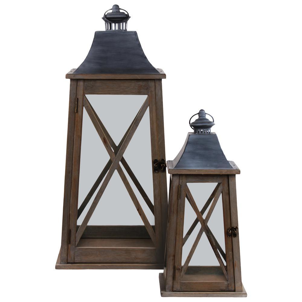 Brown Candle Metal Decorative Lantern