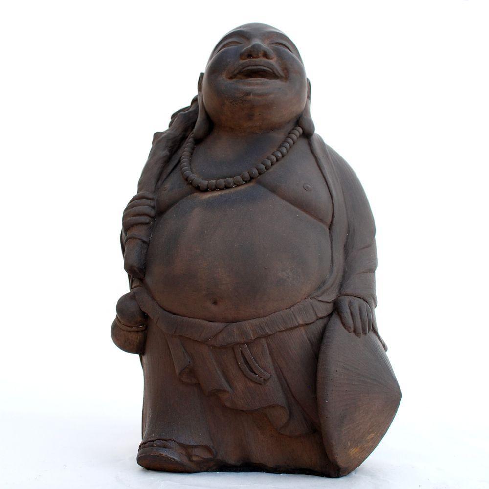 Cast Stone Traveling Buddha Garden Statue - Dark Walnut