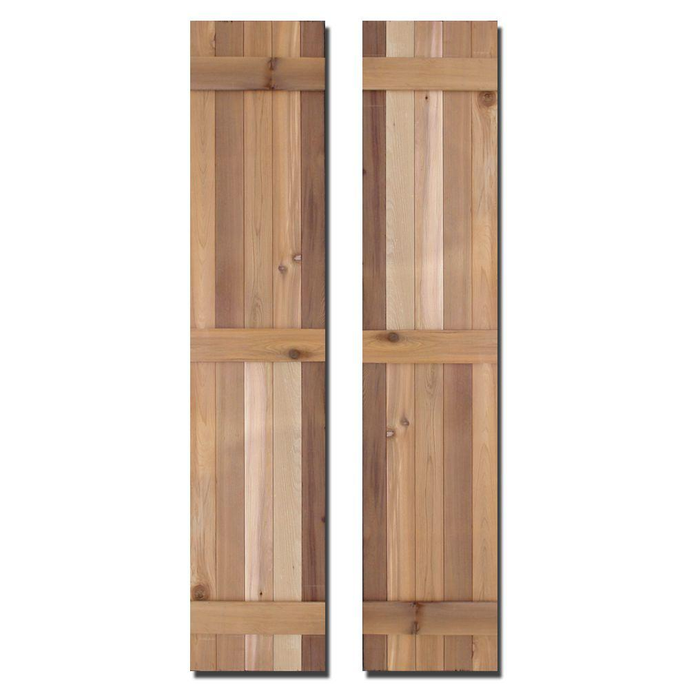 12 in. x 75 in. Natural Cedar Board-N-Batten Baton Shutters Pair