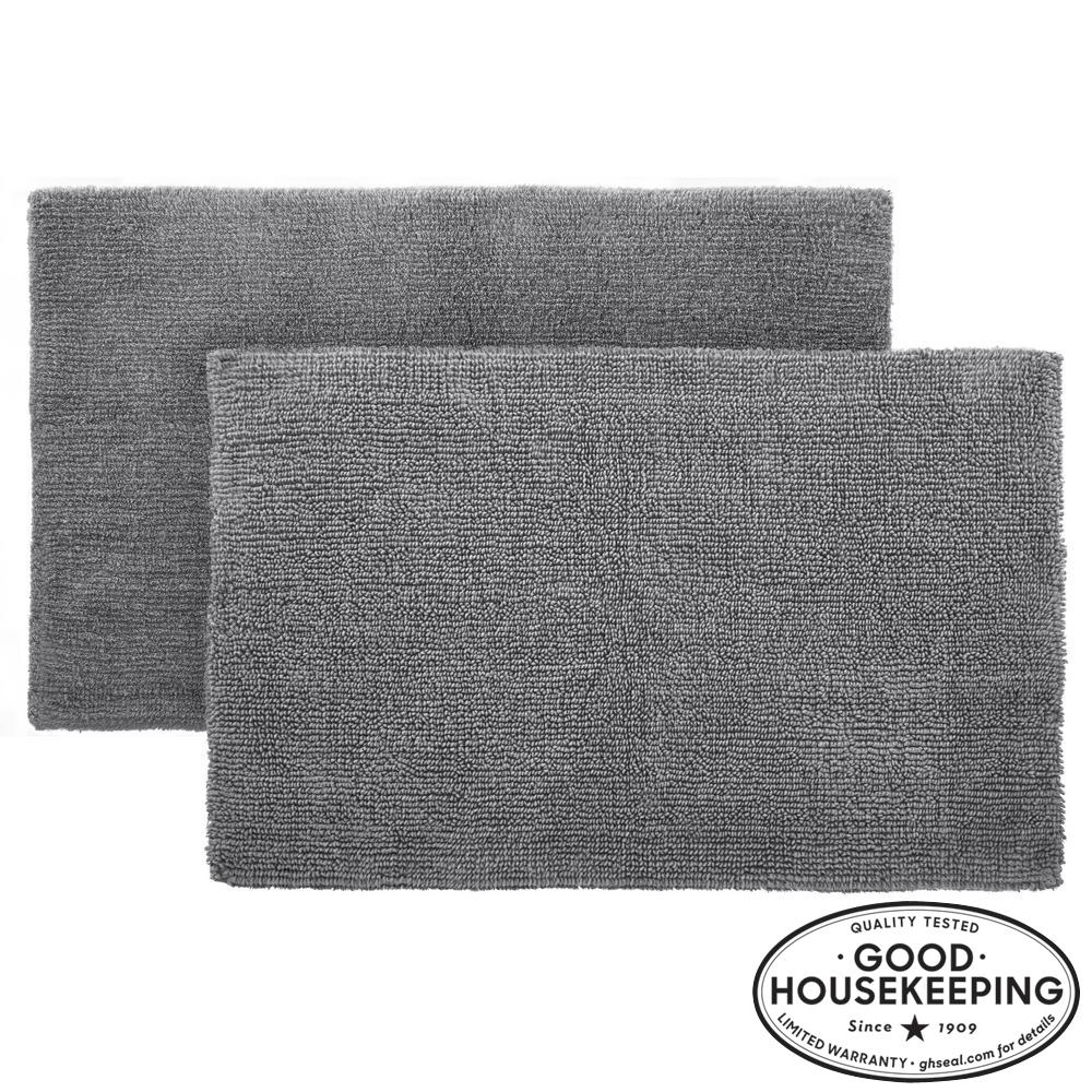 Charcoal 17 in. x 24 in. Cotton Reversible Bath Rug (Set of 2)