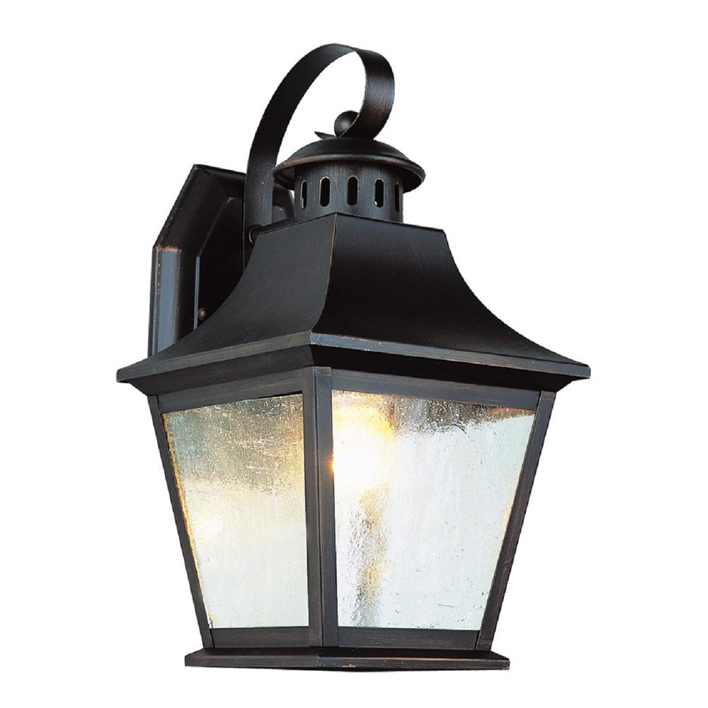 Bel Air Lighting 1-Light Rubbed Oil Bronze Outdoor Lantern with Seeded Glass