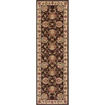 Timeless Abbasi Brown Traditional Oriental 3 ft. x 12 ft. Runner Rug