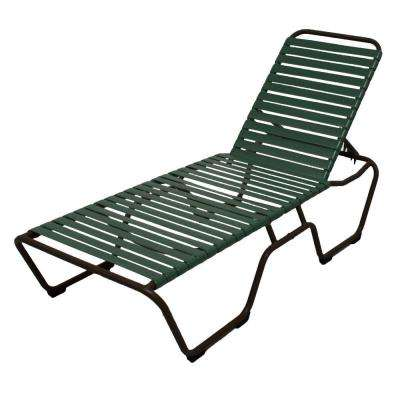 Marco Island Dark Cafe Brown Commercial Grade Aluminum Patio Chaise Lounge with Green Vinyl Straps (2-Pack)