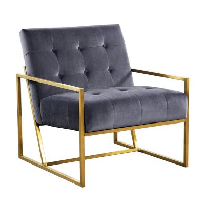 Gray Velvet Tufted Dining Arm Chair with Golden Base