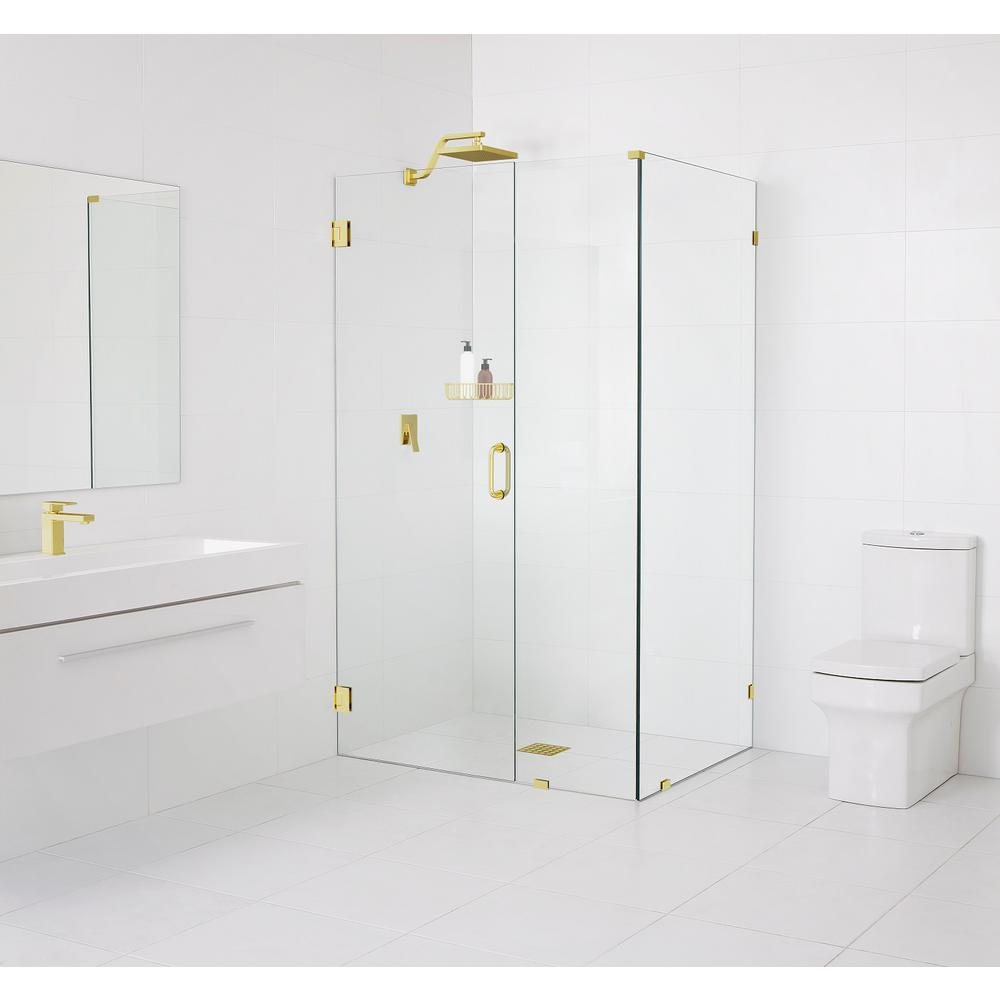 Glass Warehouse 90° Wall-Hinged 34.5 in. x 78 in. x 34 in. Frameless Pivot Shower Door in Polished Brass