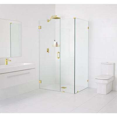 90° Wall-Hinged 34.5 in. x 78 in. x 34 in. Frameless Pivot Shower Door in Polished Brass
