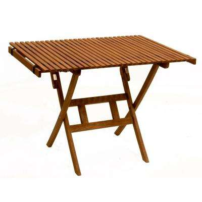 Brown Keruing Roll Top Folding Table