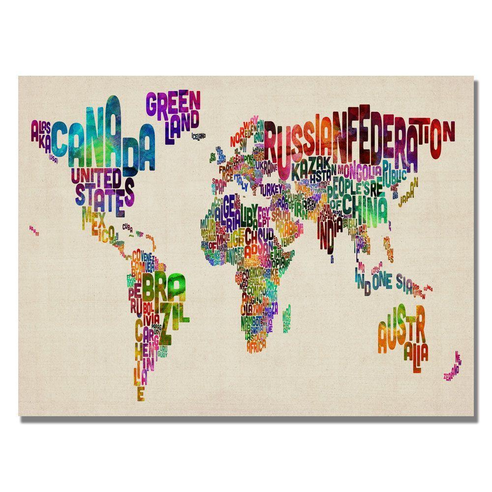 Trademark Fine Art 18 in. x 24 in. Typography World Map II Canvas Art