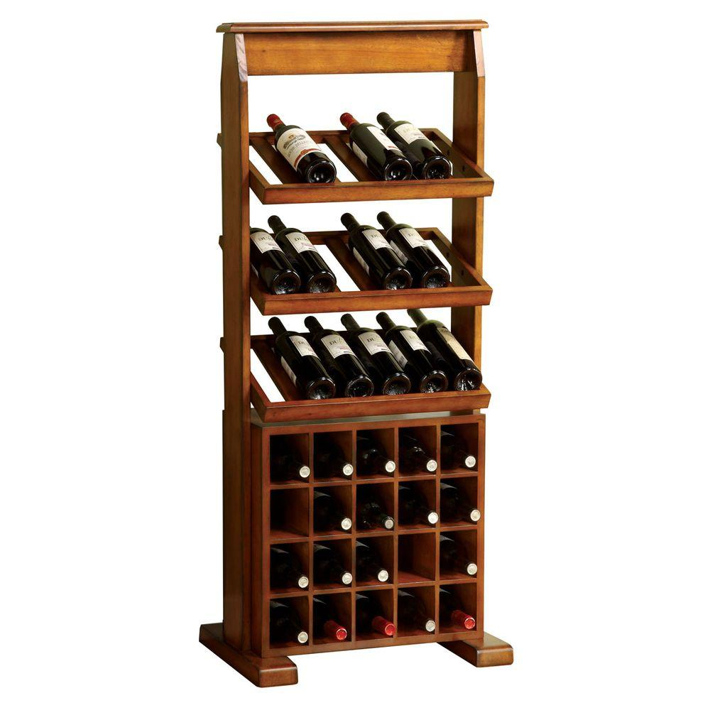 Home Decorators Collection Guarda 35-Bottle Antique Oak Floor Wine Rack