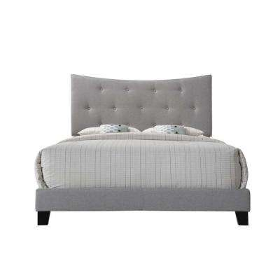 Venacha Gray Fabric Queen Bed