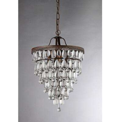 Martinee Crystal Inverted Pyramid 4-Light Antique Bronze Chandelier with Shade