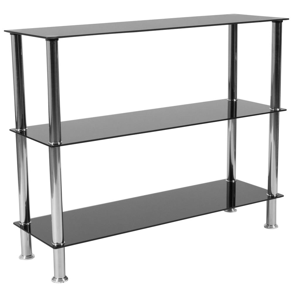 Black Top Stainless Steel Frame Bookcase
