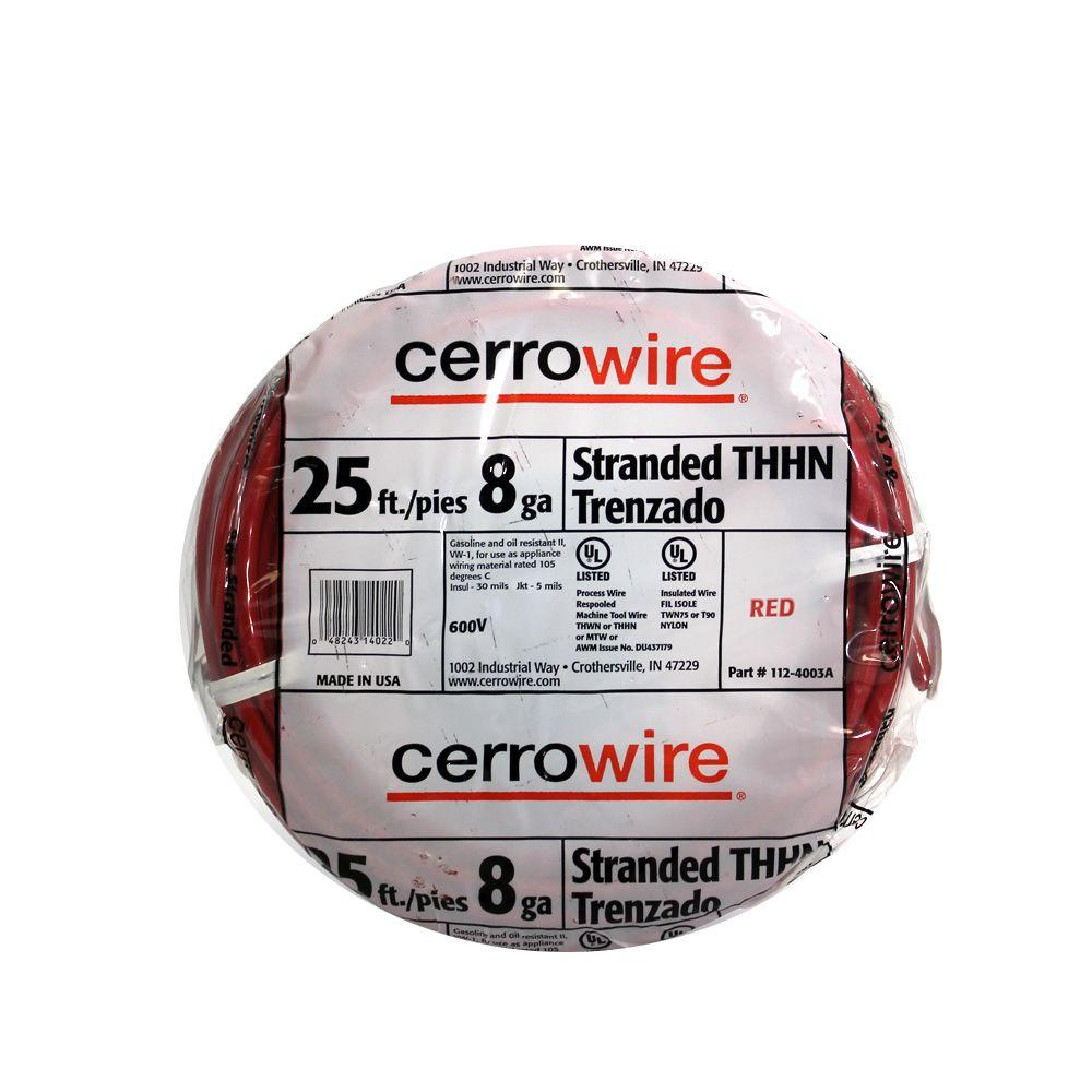 Cerrowire 25 ft. 8-Gauge Red Stranded THHN Wire-112-4003AR - The ...