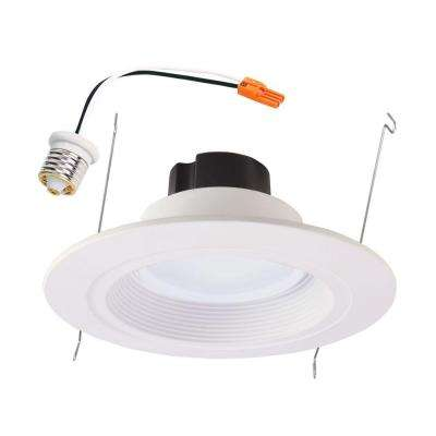 RL 5 in. and 6 in. Matte White Integrated LED Recessed Retrofit Downlight Trim, 900 Lumens, 90 CRI, 3500K Bright White