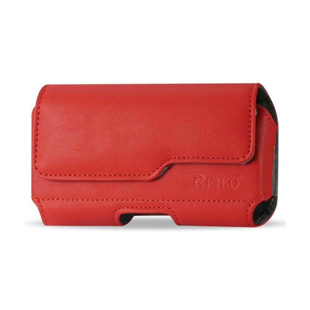 Medium Horizontal Leather Holster in Red