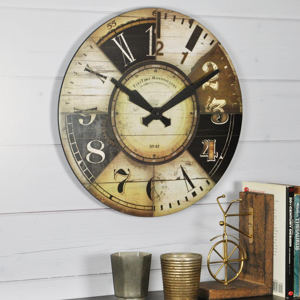 FirsTime 15.5 in. Round Collector Wall Clock