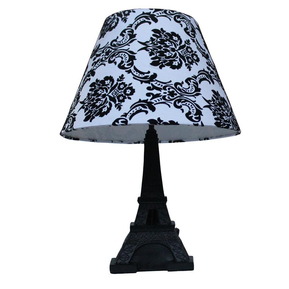 Simple Designs Paris 16 in. Black Eiffel Tower Table Lamp with ...