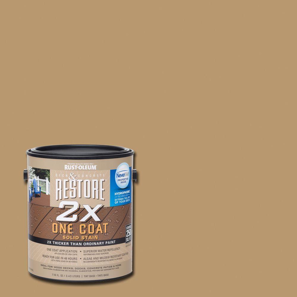 Rust-Oleum Restore 1 gal. 2X Sandstone Solid Deck Stain with NeverWet