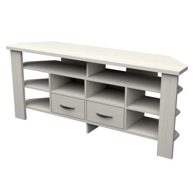 59.1 in. Washed Oak Wood Corner TV Stand Fits TVs up to 60 in.