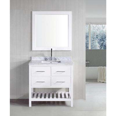 London 36 in. W x 22 in. D Vanity in White with Marble Vanity Top in Carrera White with White Basin and Mirror