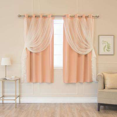 Indie Pink 63 in. L Marry Me Lace Overlay Blackout Curtain Panel  (2-Pack)