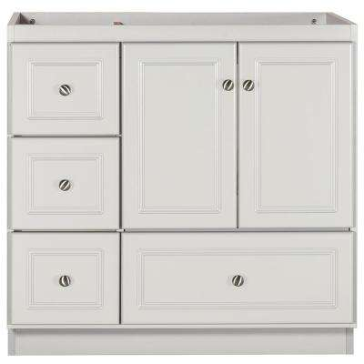 Ultraline 36 in. W x 21 in. D x 34.5 in. H Bath Vanity Cabinet Only with Left Drawers in Dewy Morning