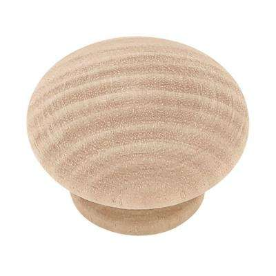 Classic 1-1/2 in. (38 mm) Birch Wood Round Cabinet Knob (10-Pack)