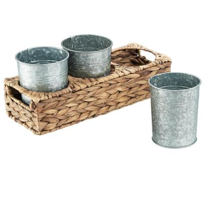 Garden Terrace Flatware Caddy 13.75x5.x5.5, Water Hyacinth and 3 Galvanized Cups