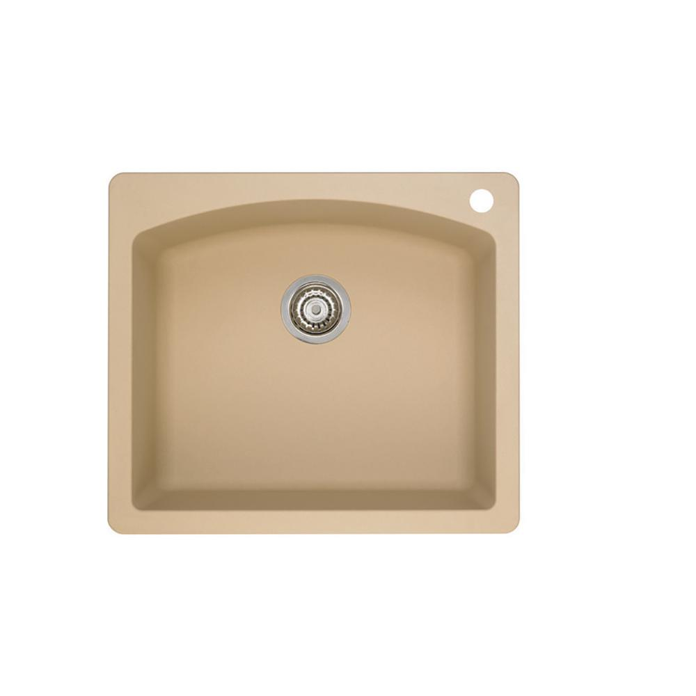 Blanco DIAMOND Dual Mount Granite Composite 25 in. 1-Hole Single Bowl Kitchen Sink in Biscotti was $266.99 now $133.5 (50.0% off)