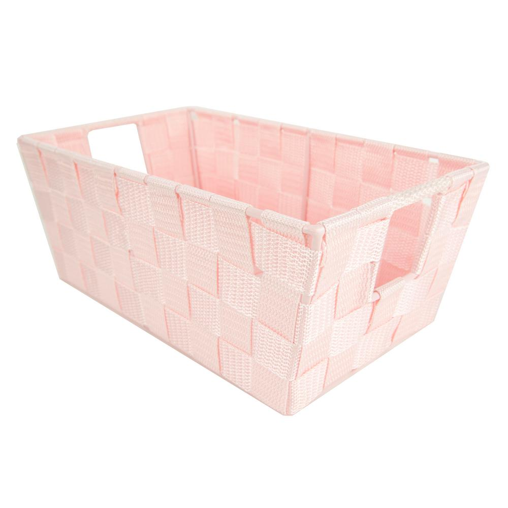 Home Basics 6.65 in. x 4.50 in. Polyester Woven Strap Open Bin in Pink