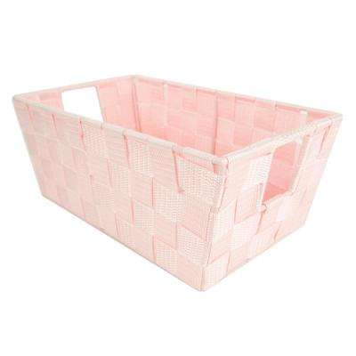 6.65 in. x 4.50 in. Polyester Woven Strap Open Bin in Pink