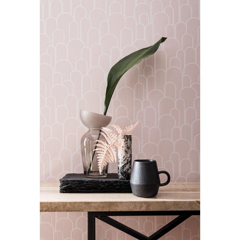 Pink Retro Geometric Hills Wallpaper